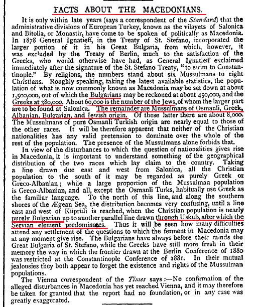 Macedonia Pall Mall Gazette 8may1888 8 May 1888   Pall Mall Gazette about the Population of Macedonia