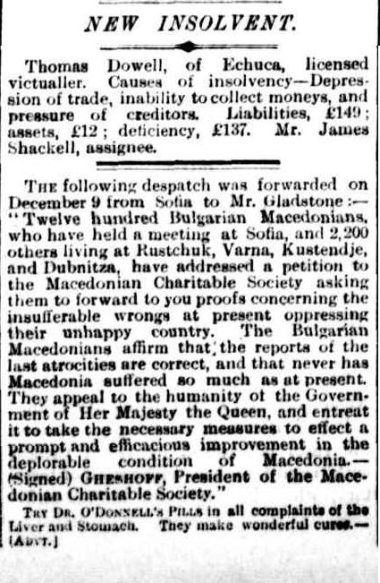 charitable society Rare Document   In 1884 the Slavs of Macedonia sent a Dispatch to Gladstone identifying themselves as Bulgarian Macedonians!!!