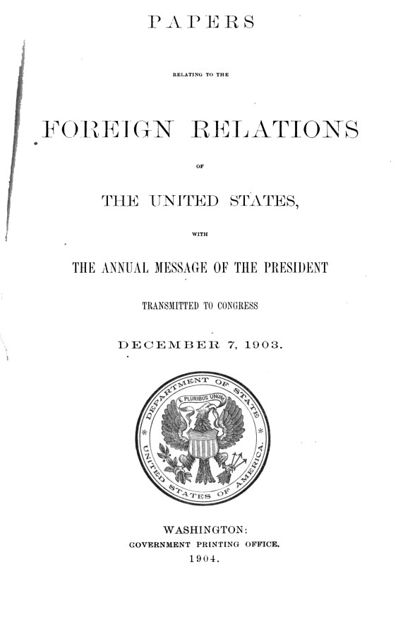 cover 1903 Official Documents from United States Foreign Relations   The Bulgarian Uprising in Macedonia!!!!!
