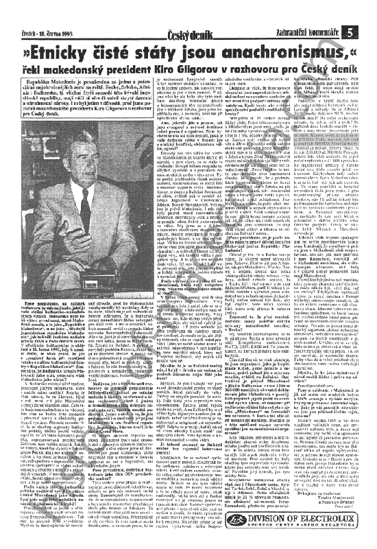 gligorov100small Ντοκουμέντο   H Ομολογία Γκλιγκόροφ στην Τσεχική εφημερίδα CESKY DENIK για Μειονότητα 100,000 Ελλήνων στα Σκόπια