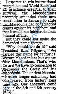 kirocrop Gligorov : We have No Connection with Alexander the Greek and his Macedonia